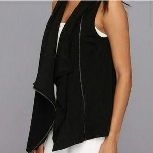 DKNYC Black Moto Side Zip Waterfall Vest Size XL